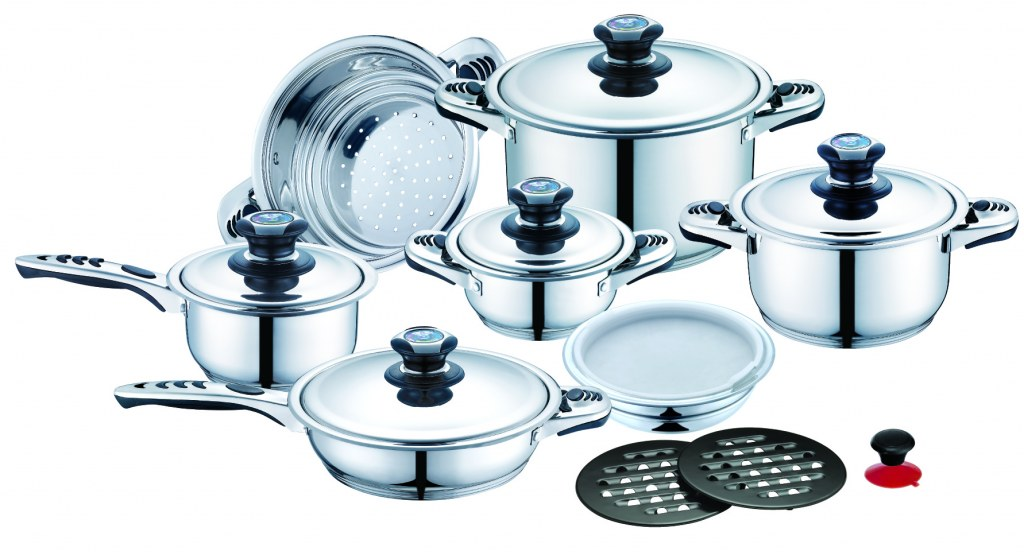 Cookware set with metal lid 16 pcs Royalty line RL-16B Wholesale Stock