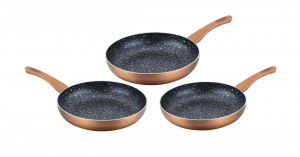 Cenocco CC-2001: Set of 3 Frying Pans with Marble Coating Copper