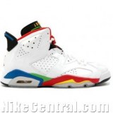 Air Jordan 6 (VI) Retro-Olympic Flag (White / Varsity Red-Green Bn-New Blue)