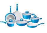 11-piece ceramic pot set in blue