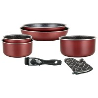 Herzberg HG-8053: 7-Pieces Marble-Coated Cookware Set with Removable Handle Burgundy