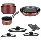 Herzberg HG-8054: 11-Pieces Marble-Coated Cookware Set with Removable Handle Burgundy