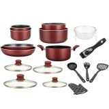 Herzberg HG-8055: 17-Pieces Marble-Coated Cookware Set with Removable Handle Burgundy