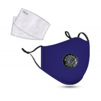 PM2.5M: Washable Cotton Mask w/ 2 Activated Carbon Filters Blue