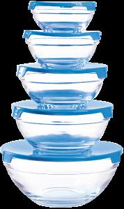 Herzberg HG-5007;Transparent glass bowls Set 10pcs Blue