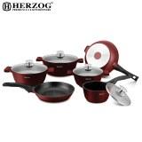 Herzog HR-ST16M: 16 Pieces Die-Casting Cookware Set Burgundy