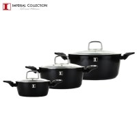Imperial Collection IM-CAS3-FMT: 6 Pieces Marble Coated Aluminum Cookware Set Black