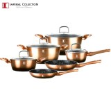 Imperial Collection IM-ST10-FMT: 10 Pcs Aluminium Cookware Set Copper/Black