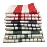Cenocco CC-9068: 9 - Pieces Vintage Stripe & PlaidCotton Kitchen Towel Set - White