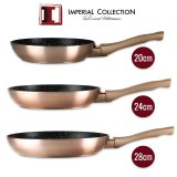 Imperial Collection IM-FFMT: 3 Pieces Marble Coated Metalic Fry Pan Set (20cm,24cm,28cm...)