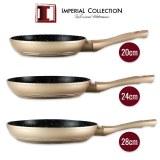 Imperial Collection IM-FFM: 3 Pieces Marble Coated Fry Pan Set (20cm,24cm,28cm) Copper