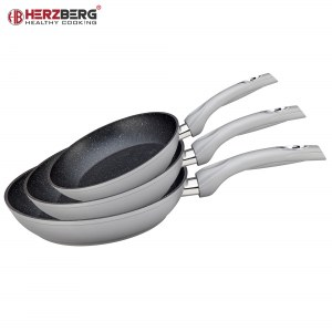 Herzberg HG-FP3: 3 Pieces Forged Aluminum Frypan Set 20/24/28 Silver