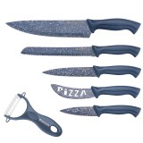 Herzog HR-SY5: 6 Pieces Marble Coated Stainless Steel Knife Set Gray