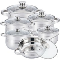 Herzberg HG-1241: 12 Pieces Stainless Steel Cookware Set