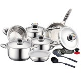 Herzberg HG-16SS:16 Pieces Inox Cookware Set with Stainless Steel Lids