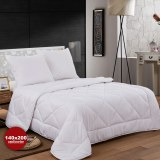 Herzberg HG-14267D: White Microfiber Bedding Set(Duvet+2Pillows) - 140x200cm