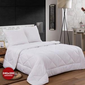 Herzberg HG-24267DP: White Microfiber Bedding Set(Duvet+2Pillows) - 240x200cm