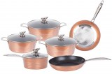 Herzberg HG-6019; Non-stick marble coating high quality forged aluminium cookware set...
