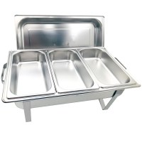 Herzberg HG-8022-3: Professional Chafing Dish - 3 Pieces 1/3rd Food Pan