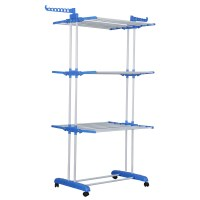 Herzberg HG-8034BLU: Moving Clothes Rack - Blue