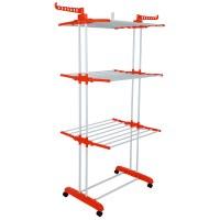 Herzberg HG-8034ORG: Moving Clothes Rack - Orange