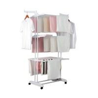 Herzberg HG-8034WHT: Moving Clothes Rack - White