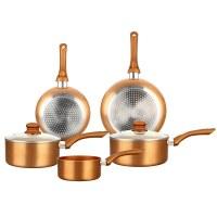 Herzberg HG-8044COP: 7 Pieces Copper Metallic Cookware Set