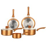 Herzberg HG-8044COP: 7 Pieces Copper Metallic Cookware Set