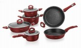 IMPERIAL COLLECTIONIM-1030MR, Forged Aluminum Cookware Set, 10 Pieces, stone covering...