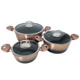 Imperial Collection IM-CAS3-FMT: 6 Pieces Marble Coated Aluminum Cookware Set