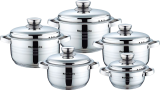 Royalty Line RL-1002:10 Pieces Stainless Steel Cookware Set With Metal Lid