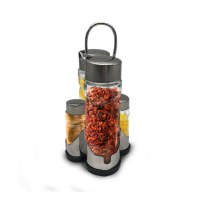 Herzberg HG-6006; Spice rack with 6 glass jars