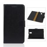 Litchi Line Patterned Flip Genuine Leather Wallet Case Cover