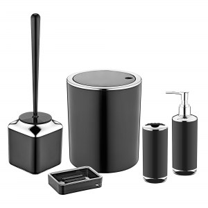Herzberg HG-OKY6321: 5 Pieces Bathroom Set - Double Layer Color Black