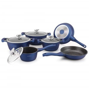 Royalty Line RL-BS1010M: 10 Pieces Pot with Ceramic Coating Blue