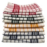 CC-9067: 10 - Pieces Vintage Plaid Fine Weave Cotton Kitchen Towel Set