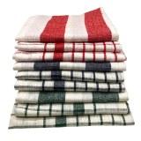 Cenocco CC-9068: 9 - Pieces Vintage Stripe & PlaidCotton Kitchen Towel Set - White