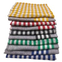 Cenocco CC-9069: 10 - Pieces Vintage Stripe & PlaidCotton Kitchen Towel Set - Grey