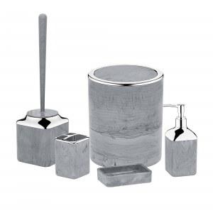 Herzberg HG-OKY5141: 5 Pieces Bathroom Set - Stone Marble Black