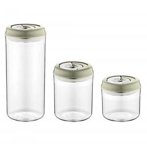 Herzberg HG-CK785: Vacuum Storage Jar Set Gray
