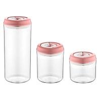 Herzberg HG-CK785: Vacuum Storage Jar Set Pink