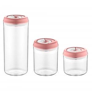 Herzberg Vacuum Storage Jar Set Pink