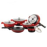Herzog HR-ST16M: 16 Pieces Die-Casting Cookware Set Red