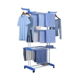 Herzberg HG-8034BLU: Moving Clothes Rack - Blue 1