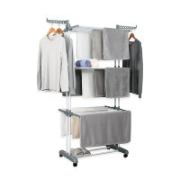 Herzberg HG-8034GRY: Moving Clothes Rack - Grey