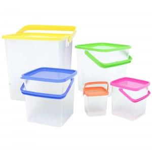 Herzberg 5-in-1 Corner Cubic Food Storage Container SET with Handle