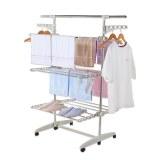 Herzberg HG-5015; Moving Clothes Rack White