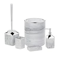 Herzberg HG-OKY5141: 5 Pieces Bathroom Set - Stone Marble Light grey