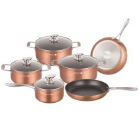 Royalty Line RL-FM10C: 10-Piece Marble Coating Cookware Set Copper