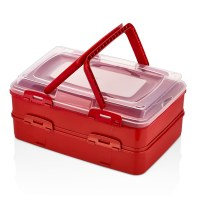 Herzberg HG-L718: Duplex Takeaway Pastry Carrying Box Red